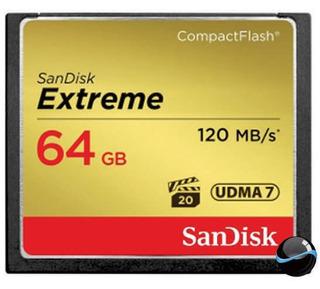 Cartão Memória Compact Flash Cf 64gb Sandisk Extreme 120mb/s