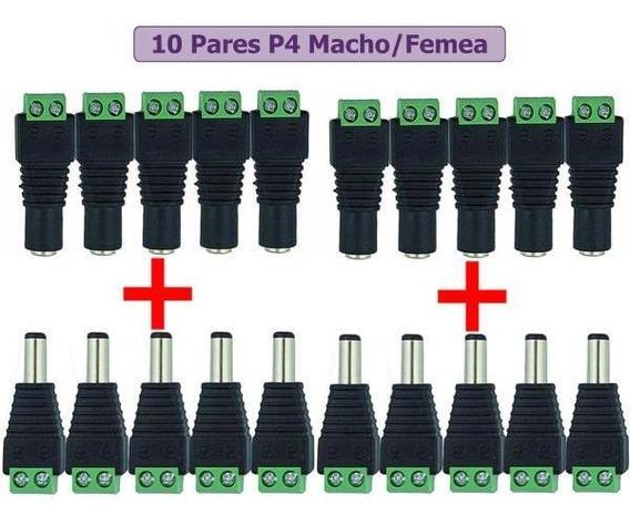Kit 20 Conector P4 10 Femea+10 Macho Com Bornes Plug 5,5x2,1