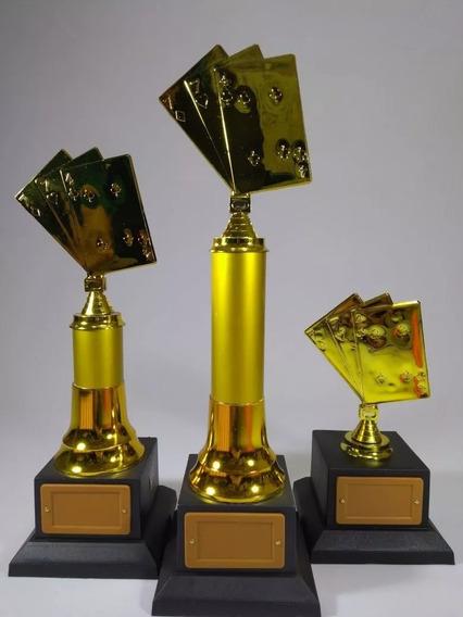 Troféu Personalizado Baralho- 03 Kits Com 03 - 40, 34 E 20cm