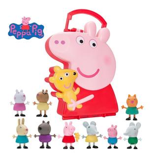 Peppa Pig Muñecos Y Lonchera Y Sus Amigos -10piezas Original