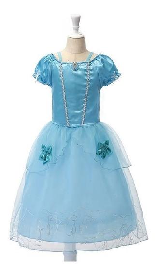 Vestido Fantasia Princesas Branca De Neve Rapunzel Cinderela