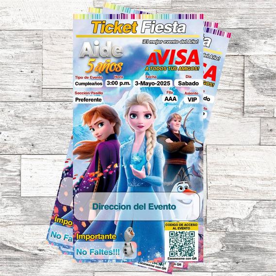 Invitacion Ticket Frozen Personalizada Imprimible