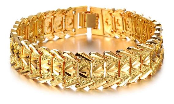 Pulseira Masculina Bracelete Grossa Banhada Ouro 18k Brilho