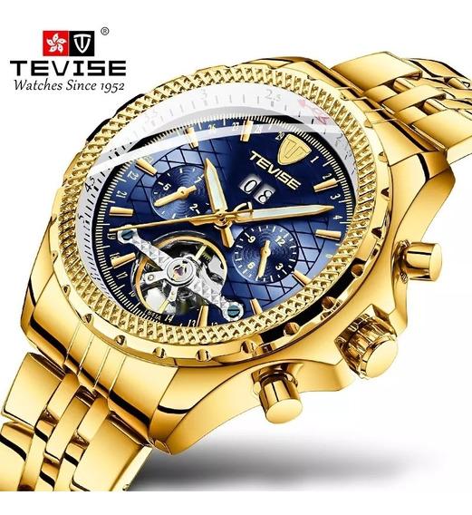 Relógio Tevise T841a Automático Original Dourado