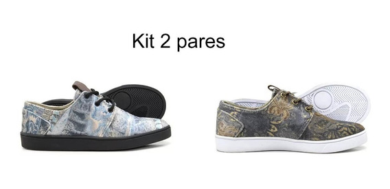 Kit 2 Pares Tênis Street Skate Easy Sola Borracha Promoção
