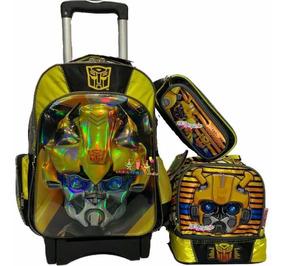 Transformers Bumblebee Kit Mochila 3d Prim Carro Lonch Lapi