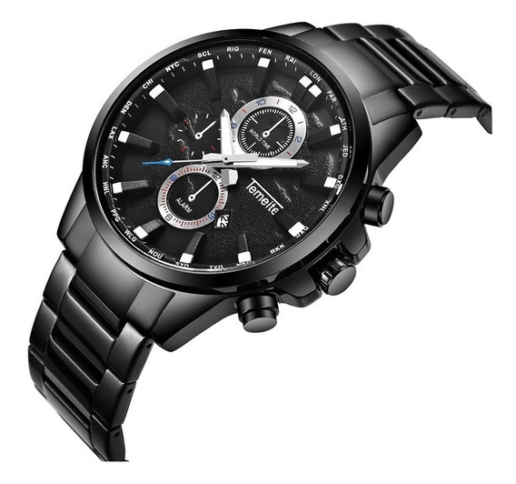 Relógio Temeite T033g Masculino Alta Qualidade Visor Preto