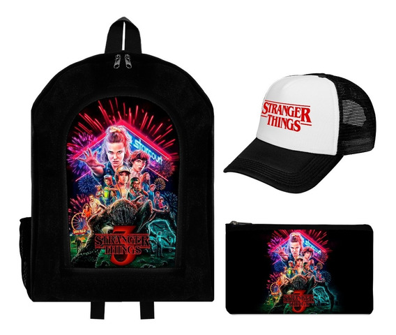 Combo Mochila + Cartuchera + Gorra Trucker Stranger Things