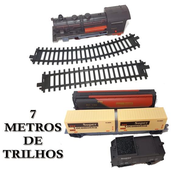 Locomotiva Trilhos Vagões 7 Metros Ferrorama Trem Brinquedo