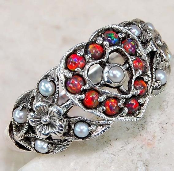 Anillo Corazon Victoriano Opalo Perla #7 Plata 925 Ringking