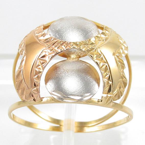 Esfinge Jóias - Anel Design Três Cores Aro17 Ouro 18k 750.