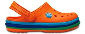 Zapato Crocs Unisex Infantil Crocband Rainbow Band Naranja