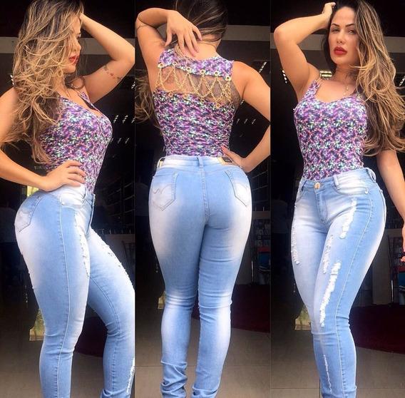 Calca Jeans Com Recorte Levanta Bumbum Zigma Com Bojo