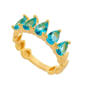 Anel Feminino Banhado A Ouro Com Pedras Naturais Gotas Azuis
