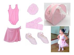 Uniforme Aula Juvenil Roupa Balé Ballet Bailarina Com Bolsa