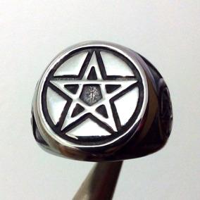 Anel Aço Pentagrama Estrela 5 Pontas Salomão Wicca P2