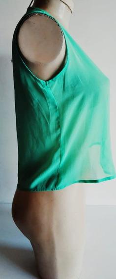 Blusa/verde Limon/manga Sisa/caida Olgada Y Fresca/talla S-m
