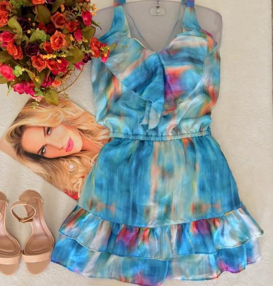 Vestido Azul Estampado Babadinho Tam P