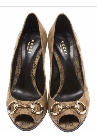 Zapato Gucci Color Café Grabado Gg Horsebit