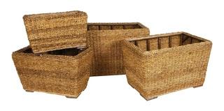 Porta Macetas Set X 4 Seagrass Importado Cesto Canasto