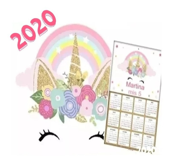 Kit Imprimible Unicornio Dorado Con Calendario 2020