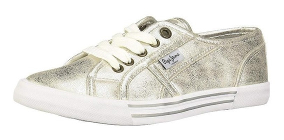 Tenis Pepe Jeans New Putney Zapatillas Mujer Plata Original