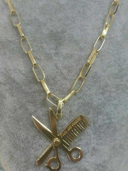 Cordão De Prata Com Banho De Ouro 24k, Pingente Barbearia