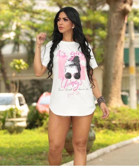 Blusa Feminina Camiseta Chemise T-shirts Longa Bege Desenho
