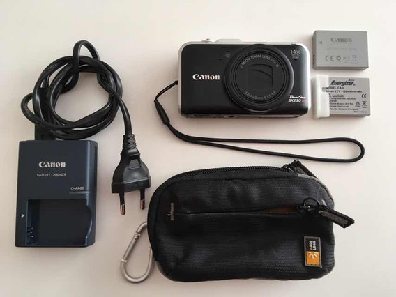 Canon Sx230 Hs 12m Zoom Óptico 14x E 2 Baterias