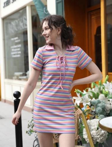 Imagen 1 de 5 de Vestido Casual A Rayas Con Cordón Al Frente
