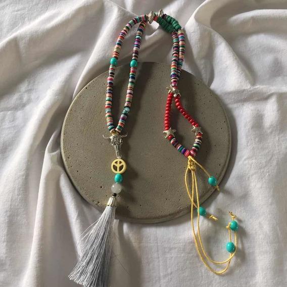 Colar Longo Colorido Hippie Boho Chique Místico Luxo