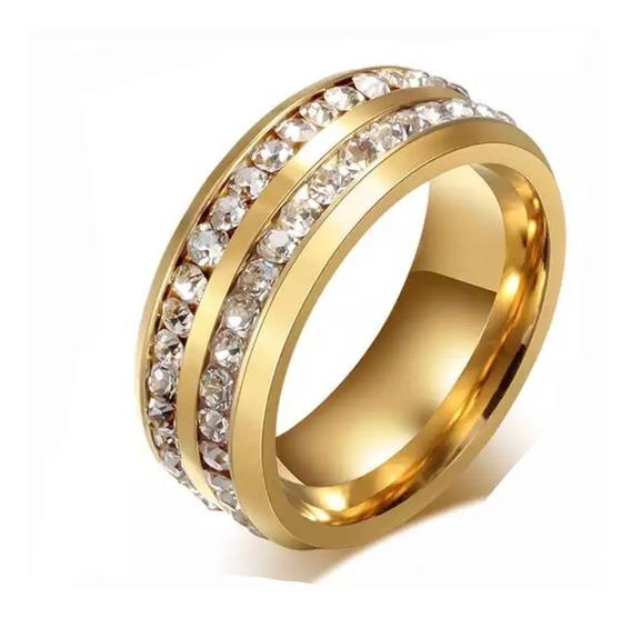 Anel Feminino Ouro Banhado Cravejado Pedra Zircônia Promoção