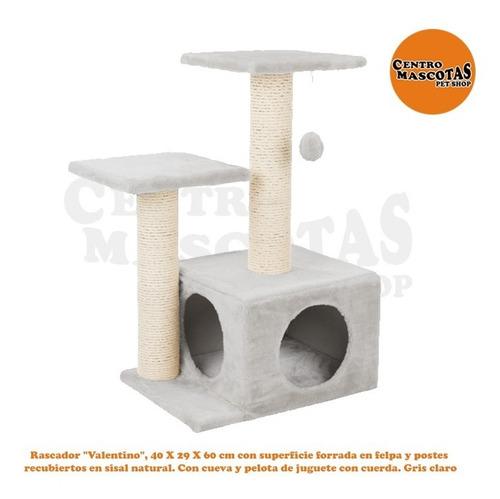 Rascador Para Gatos Valentino Felpa Importado 40x29x60 Cm