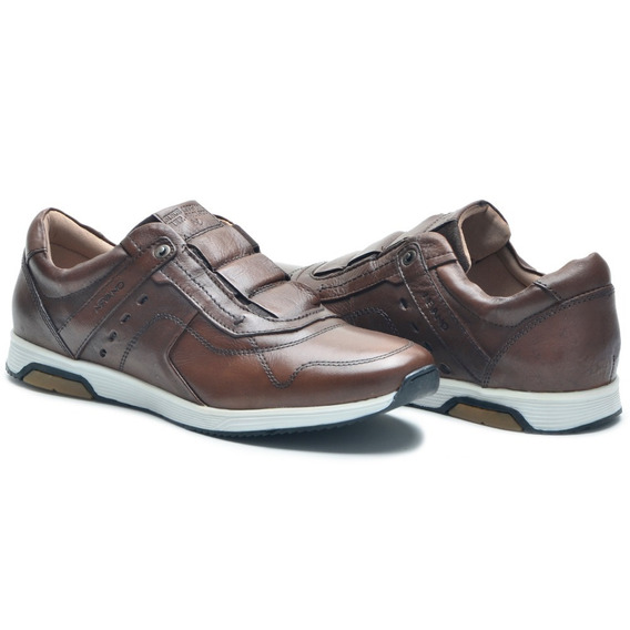 Tenis Sapatenis Casual Masculino Nv Couro Whisky 7605p