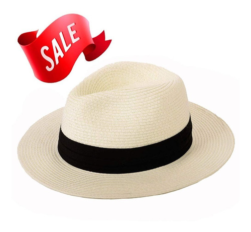 Sombrero De Paja De Panamá Summer Beach Sun Hat Upf50 + P
