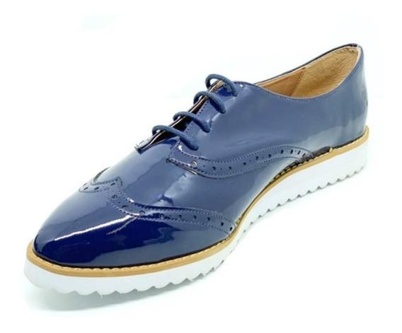 Sapatos Femininos Oxford Verniz Marinho Dani K
