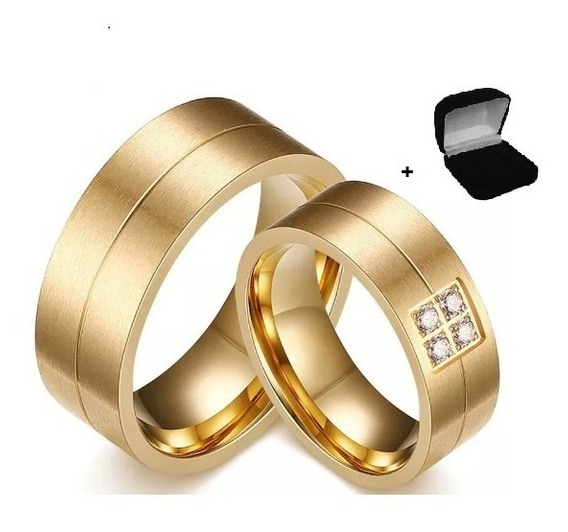 Par De Alianças Casamento Noivado 8mm Banhada Ouro 18k