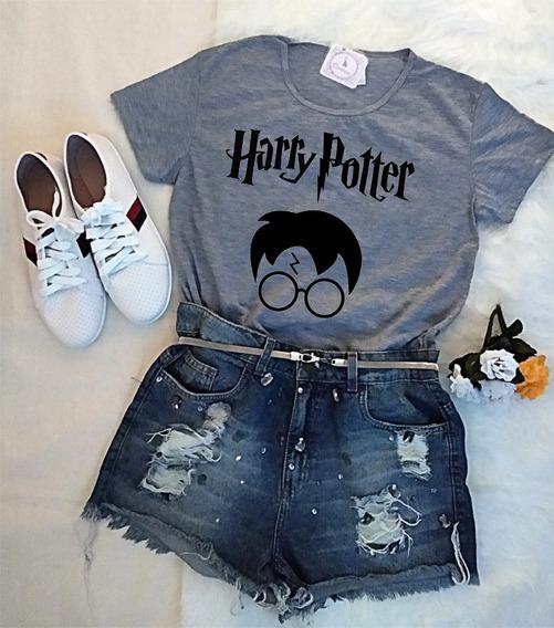 Blusa Baby Look Harry Potter Óculos Raio Camiseta Feminina