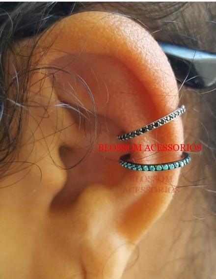 Argola Conch Aço Titânio Orelha Swarovski Piercing Clicker