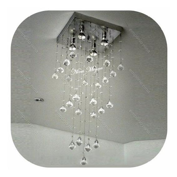 Lustre De Cristal Acrílico Bright A126 - Base Inox Espelhada