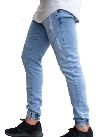 Calça Jogger Masculina Jeans Destroyed Com Elastano Lycra