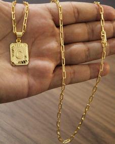 Cordão 70cm 3mm + Pingente Placa C Banhado A Ouro 18k