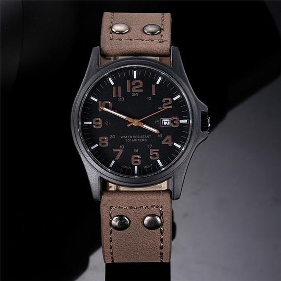X6 Relógios Masculino Pulseira De Couro Militar Soki Ou Fem