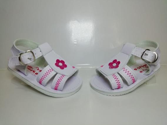Huarache Sintético Blanco Para Bebé Suela Blanda #12cm