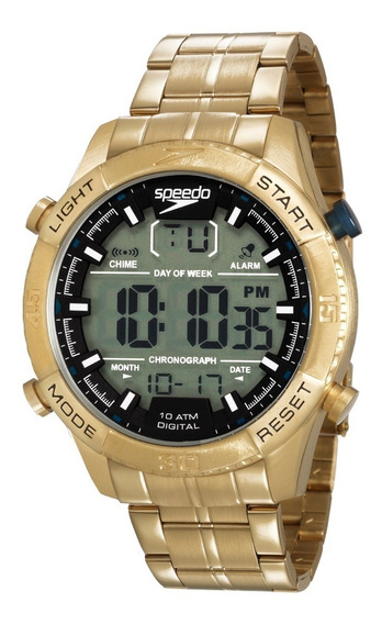 Relogio Speedo Digital Dourado Masculino 15007gpevds1