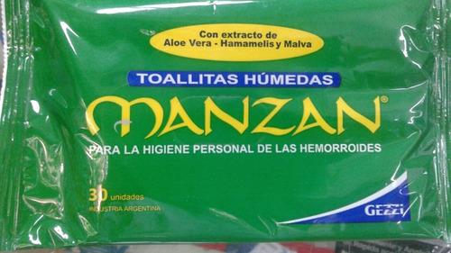 Manzan Toallitas Humedas Para Hemorroides X 60 Unidades