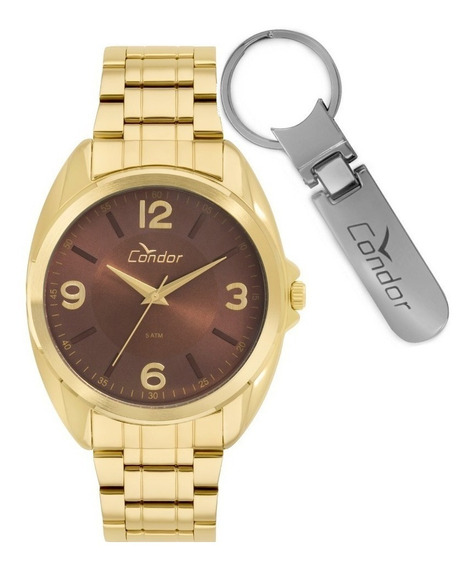Relógio Condor Masculino Dourado + Chaveiro - Co2035kve/k4m