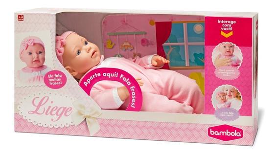 Boneca Bebê Liege Fala Frases 43 Cm Bambola Rosa