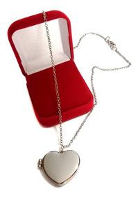 Colar Relicário Prata Coração Banhado Unissex Fotos Caixinha