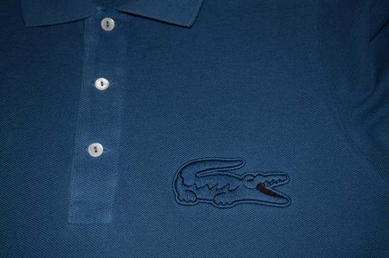 Polo Lacoste - Talla 4 - Azul - Oversized Croc
